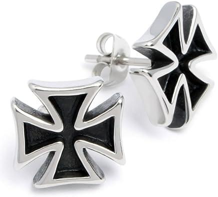 Edelstahl Herren Ohrstecker Eisernes Kreuz Ohrringe Ritterkreuz silber Bikerschmuck Männer Geschenk