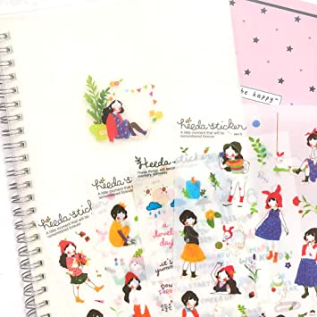 12 Sheets Kawaii Calendar Photo Paper Sticker Scrapbook Diary Planner