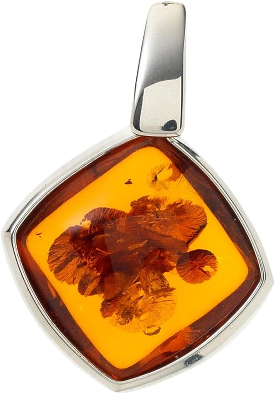 Creazioni Oro Colgante en Plata 925 con Ámbar Cuadrada Naranja P1437