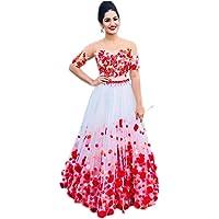Clickedia Women's Net Tafetta Lehenga Choli With Blouse Piece_White_Pink_Free Size