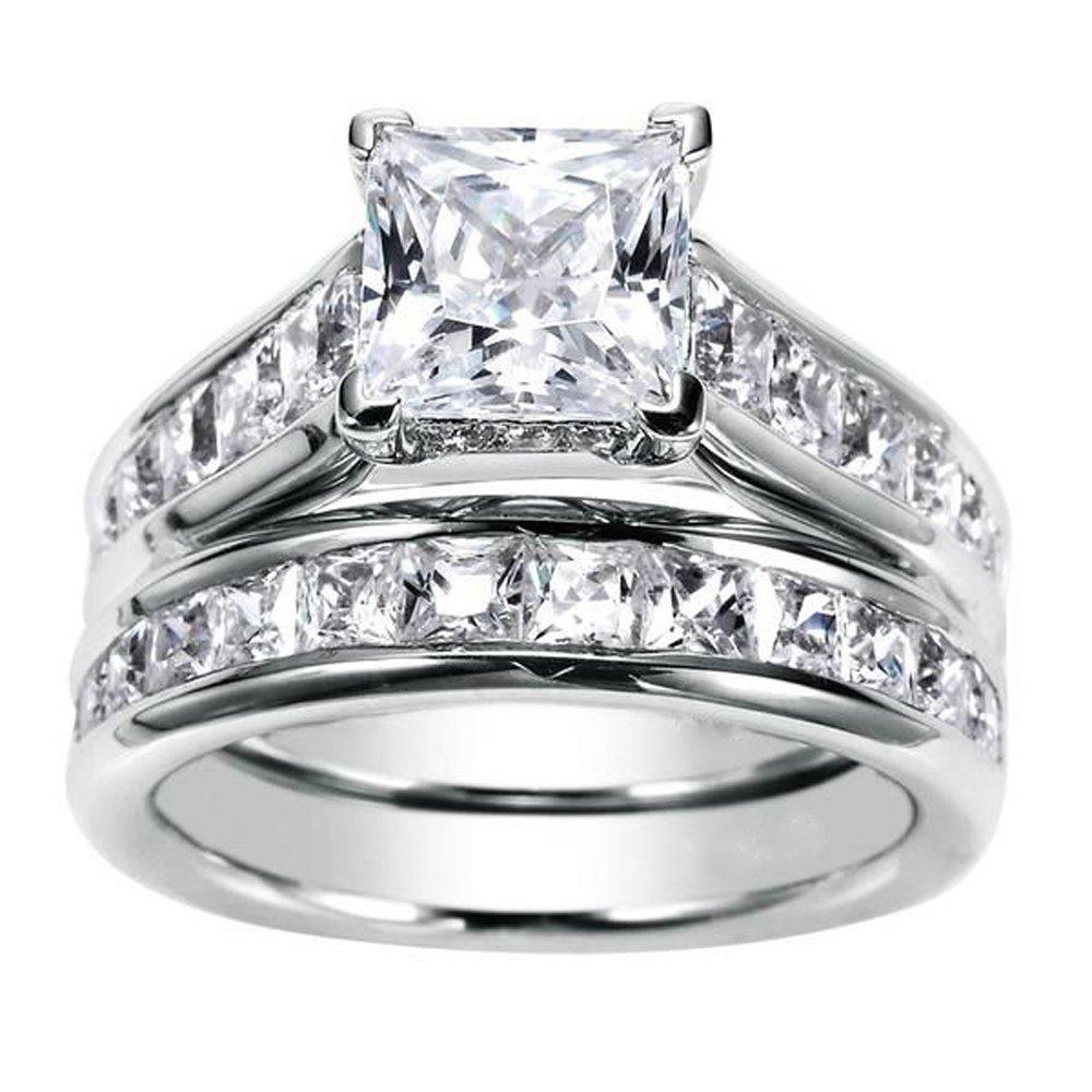 JewelMore 1.75ct Channel Set Princess Cut Diamond Engagement Ring Bridal Set 14k White Gold