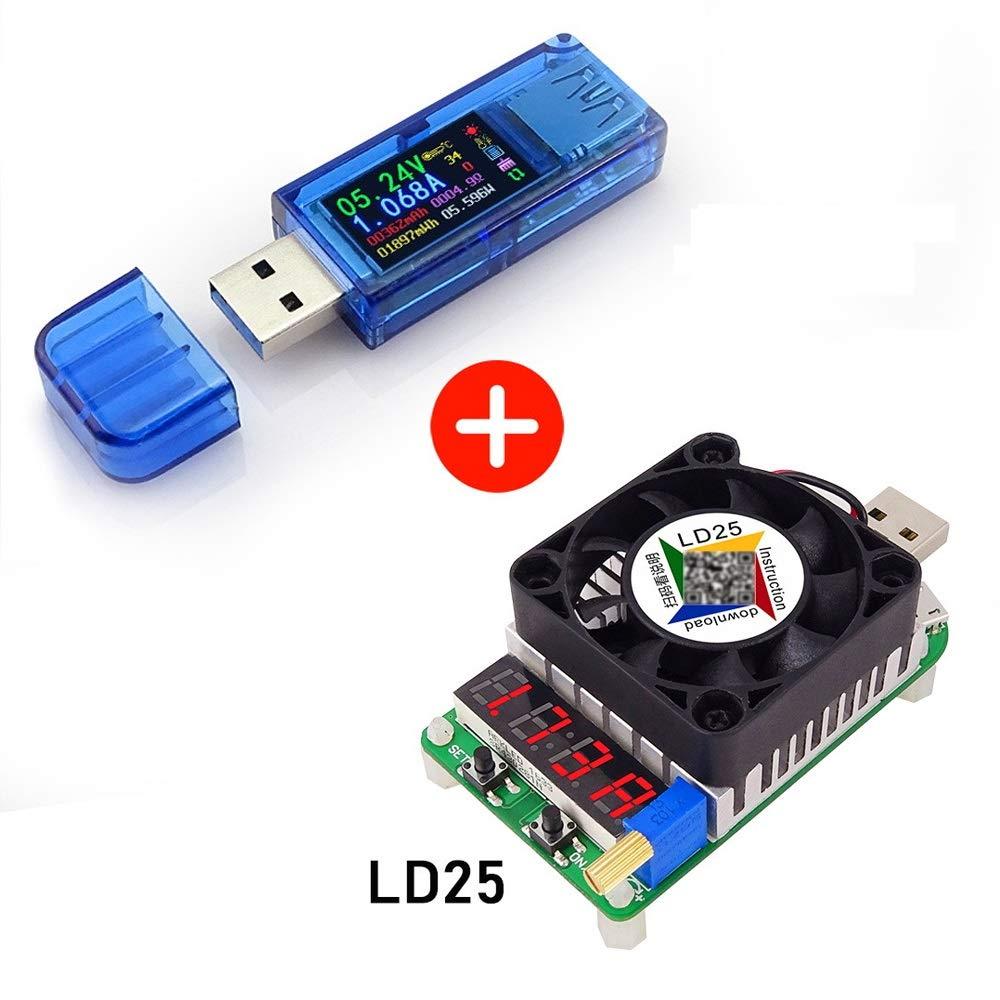 USB 3.0 Meter Tester Multimeter,USB Load Type-c Current Tester Voltage Detector,3.7-30V 0-4A Voltmeter AT34 Electronic Load Tester Resistor Module LD35 35W DC4-25V