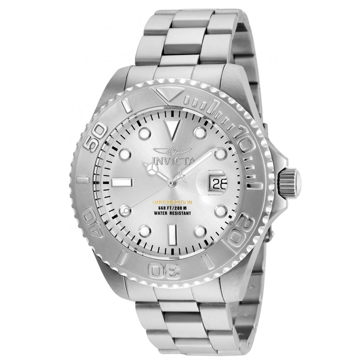 Invicta Men's 'Pro Diver' Quartz Stainless Steel Diving Watch, Color:Silver-Toned (Model: 24621)