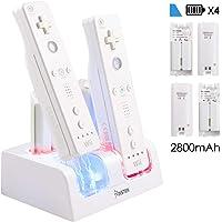 Insten - Cargador de batería 4 en 1 para Wii, estación de carga remota de 4 puertos con 4 baterías recargables (versión actualizada) e indicador de luz LED para Nintendo Wii / Wii U Game Control, color blanco
