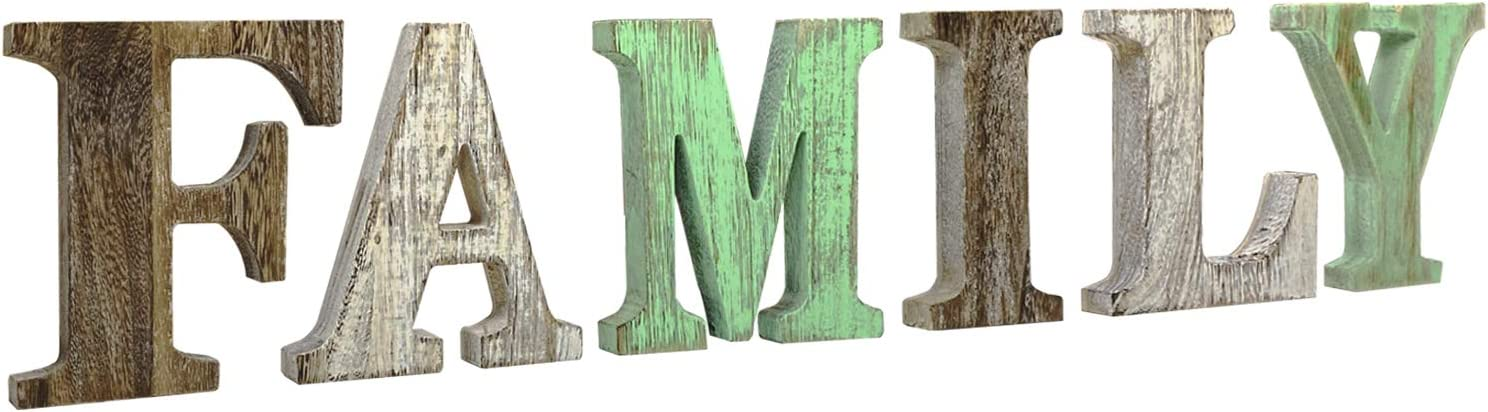 MINCORD Rustic Wood Family Sign, Decorative Wooden Blocks Rustic Letters Cutout Farmhouse Home Decor, Freestanding Wooden Letters, Table Centerpiece Words with Double Sided Tape, Multicolor