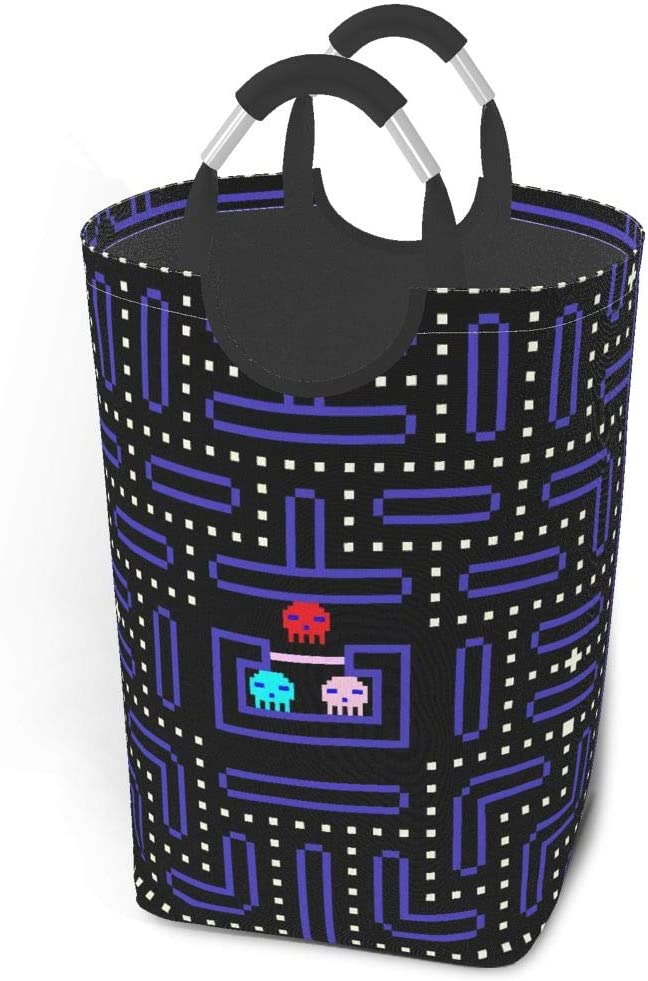 imislar Laundry hampers for Bedroom Dirty Clothes Pack 8-Bit Pixel Retro Arcade Game. Old Video Game Design Collapsible Fabric Laundry Hamper, Foldable Clothes Bag, Folding Washing Bin 12.6X22.7 Inch