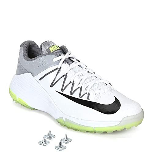 White and Grey Synthetic Cricket Shoes