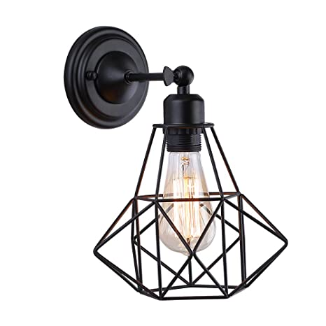 Wire Cage Wall Sconce Adjustable Black Metal Industrial Wall Light
