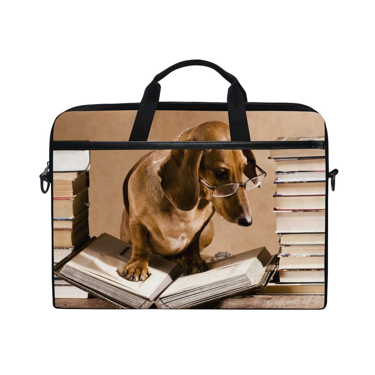 HousingMart 15 Inch Laptop Sleeve Bag Dachshund Dog Reading Book Shoulder Laptop Bag Case Hand Bag Macbook Computer Bag for Women Men Kids