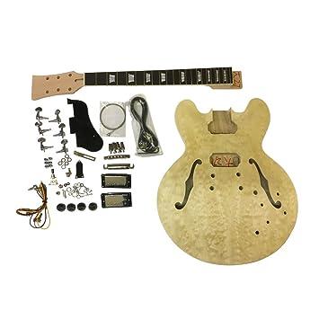 CAOBA Semi Hollow Cuerpo Guitarra Eléctrica DIY Kit dg240 Para Estudiante & Luthier proyectos GRANDE guitarra