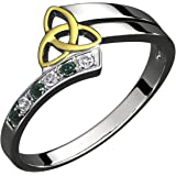 GWG Sterling Silver Ring for Women with 18K Gold Plated Celtic Triquetra Trinity Knot Embellished with Emerald Green CZ Stones