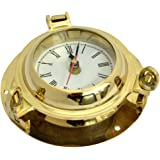 Porthole Clock 6 inches Shinng Brass Finish Marine Nautical Décor