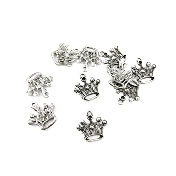 Amazon 50 pieces jewelry making charms mwxo07 crown pendant 50 pieces jewelry making charms mwxo07 crown pendant ancient silver findings craft supplies bulk lots mozeypictures Image collections