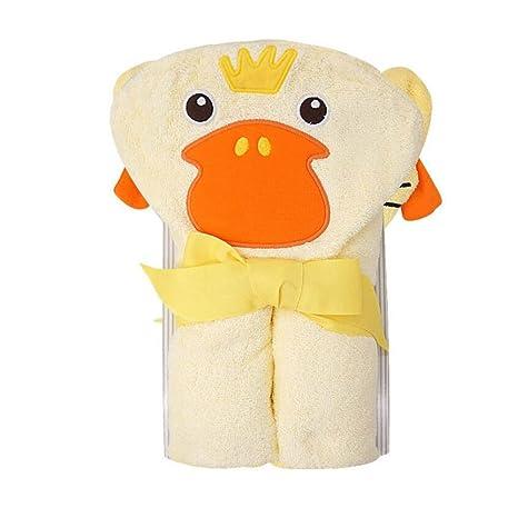 CuteOn Bebé 100% Algodón Toalla de baño Suave Encapuchado Toalla para Recién nacido Niñito y Niños - Amarillo Pato 28.74