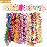 Farway Hawaiian Luau Party Supplies-Hawaiian Leis(36Ct) with Hawaiian Flower Hair Clips(16pcs), Perfect for Your Hawaii Luaus