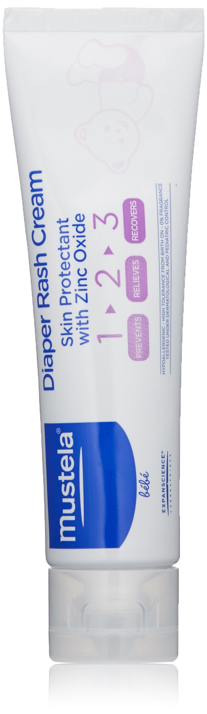 Mustela 1.2.3. Diaper Rash Cream, Baby Skin Protectant with Zinc Oxide,