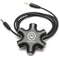 CHKOKKO 3.5 mm 5 Way Jack Stereo Audio Headset Headphone Earphone Hub Splitter Connector Adapter, Black