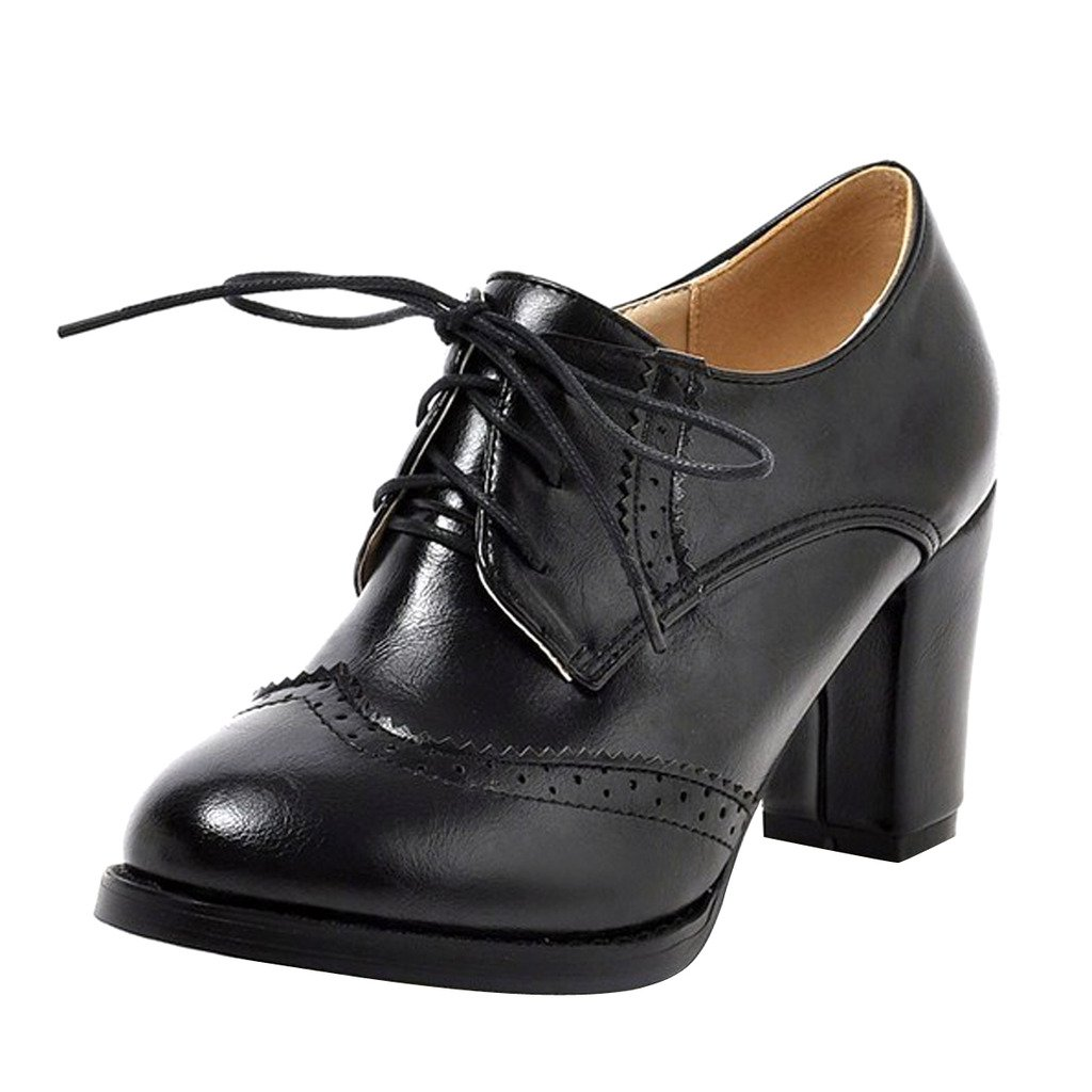 Dear Time Block Heels Wingtip Oxfords Vintage PU Leather Brogue Shoes Woman US 10