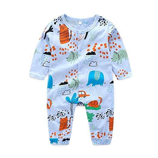 22e76bf98aed Baby Boys Girls Fashion Rompers Toddler Long Sleeve Cotton Print Romper  Bodysuit