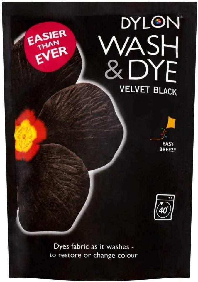 2 x Velvet Black Dylon Wash And Dye 350G Fabric Clothes Machine Dye