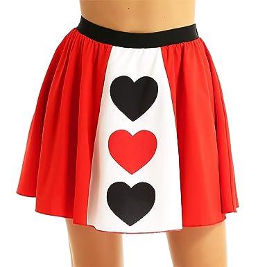 inhzoy Falda Roja para Mujer Chica Disfraz Reina de Corazones ...