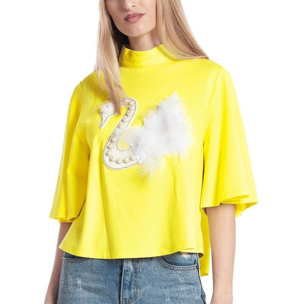 Yellow Gracia Swan Feather and Pearl Half Sleeve Top
