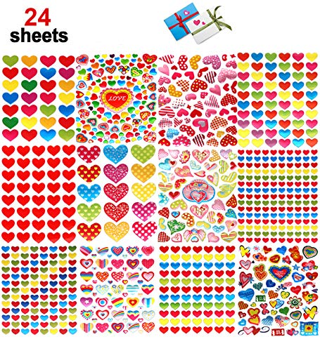 Kungfu Mall 24 Sheets Valentine Stickers for Kids, Valentine Heart Stickers for Envelopes Cards Craft Scrapbooking for Anniversaries, Party, Wedding(Colorful)