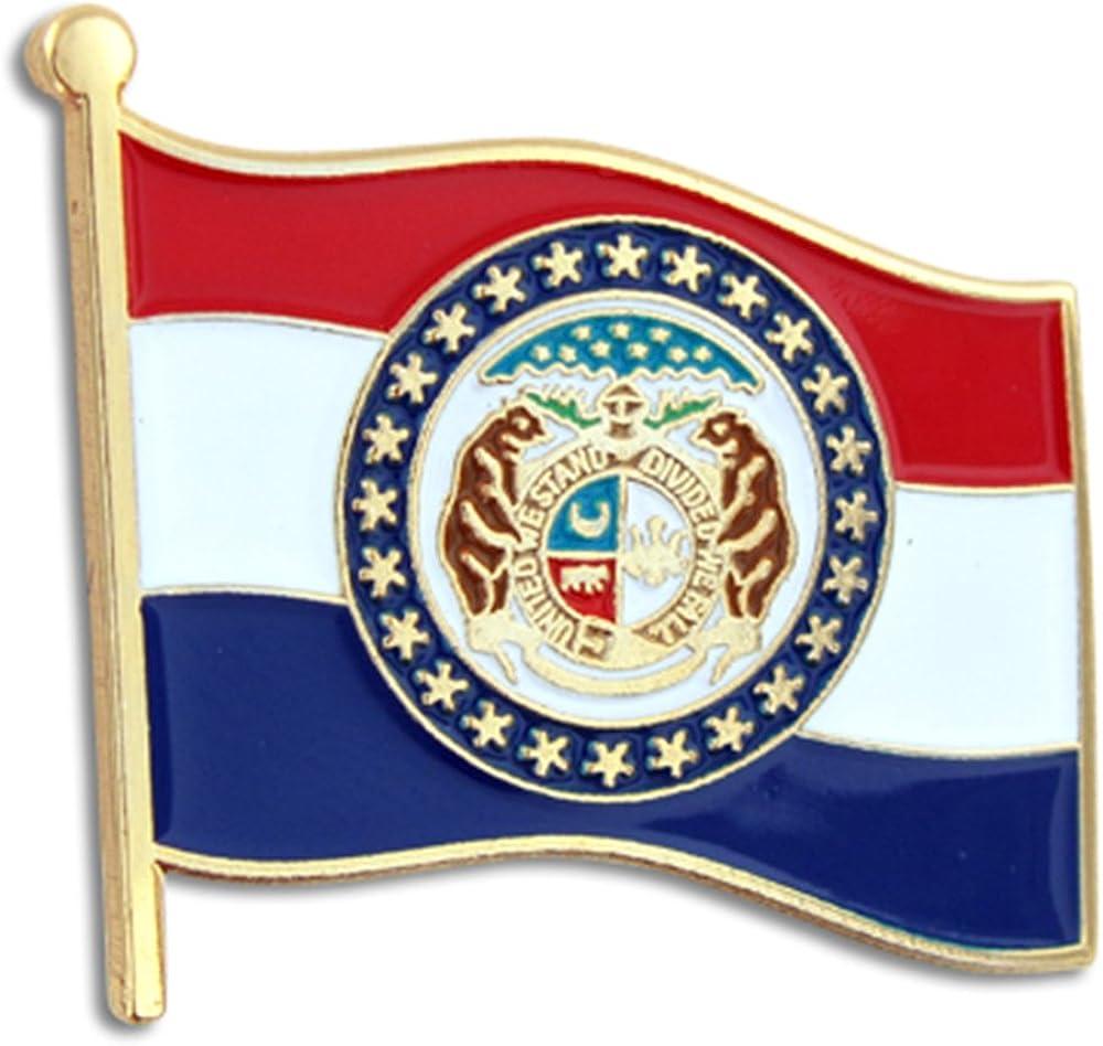 PinMart Super Superior beauty product restock quality top Missouri US State Flag Enamel Pin MO Lapel