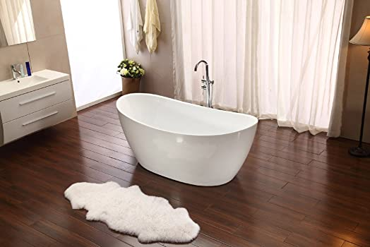 Bathtub Soaking 68 Modern Design with Telephone Style Floor Faucet – Lie Both Ways – Stand Alone Tub White Acrylic Bathroom – Model SD023D