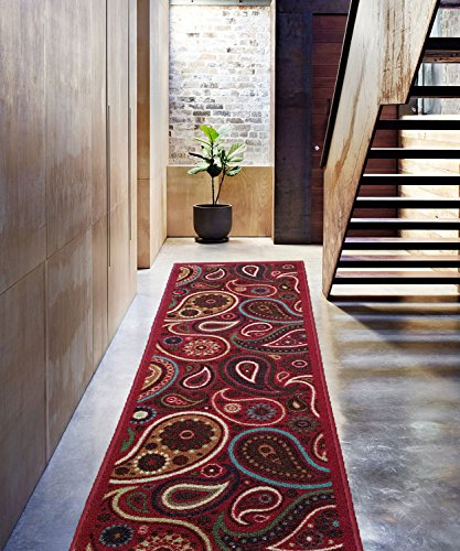 new-multi-paisley-design-rubber-backed-durable-runner-rug-carpet-beigeblack-2x5