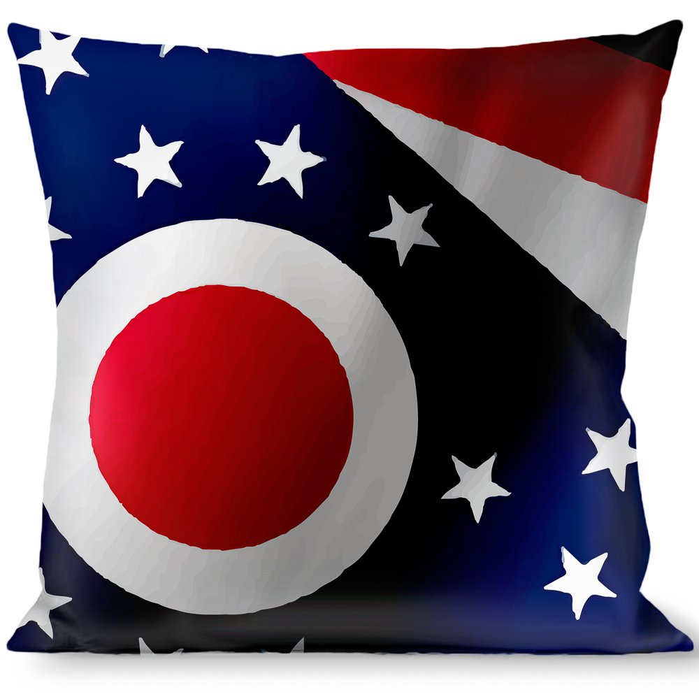 Multicolor Buckle Down Ohio Flags Stacked Throw Pillow