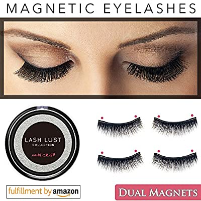 LashLust False Magnetic Eyelashes Premium Set (2 Pairs) - Dual Magnets, No Glue, Magic 3D Fake Lashes Extension - Ultra Soft & Natural Look & Handmade - Long & Thick - One Two Cosmetics Cruelty Free