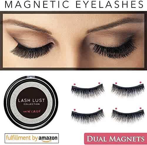 LashLust False Magnetic Eyelashes Premium Set (4 Pcs). Dual Magnets, No Glue, Magic 3D Fake Lashes Extension. Ultra Soft, Natural Look and Handmade. Long and Thick. One Two Cosmetics Cruelty Free