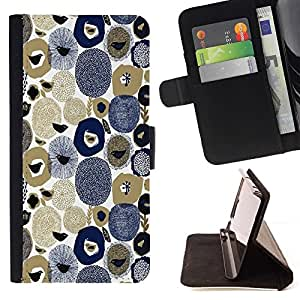 For Sony Xperia Z5 Compact Z5 Mini (Not for Normal Z5) Case , Piedras Semillas Birds Arte Azul Blanco Marrón- la tarjeta de Crédito Slots PU Funda de cuero Monedero caso cubierta de piel