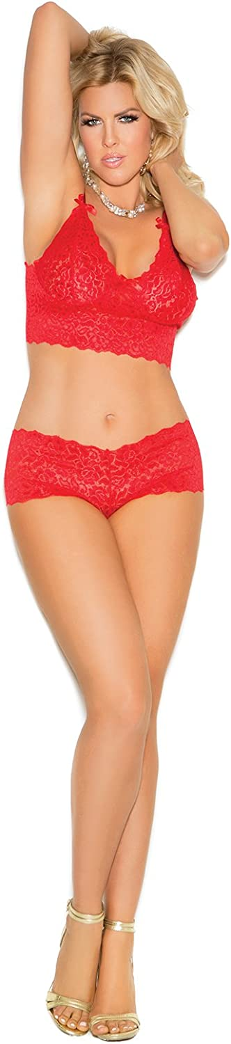 Elegant Moments Women's Stretch Lace Booty Shorts & Camisole Lingerie Set: Clothing