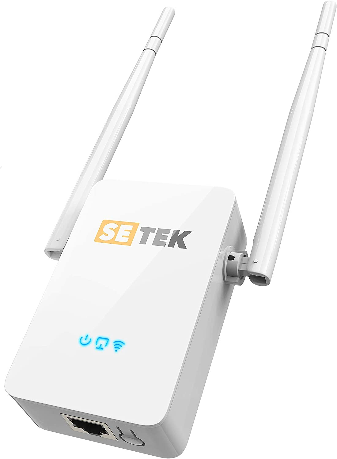 SETEK WiFi Range Extender Repeater Signal Booster to 2500 FT, 300 MBPS Wireless Internet Amplifier - Covers 15 Devices with 2 External Advanced Antennas, 5 Working Modes, LAN/Ethernet
