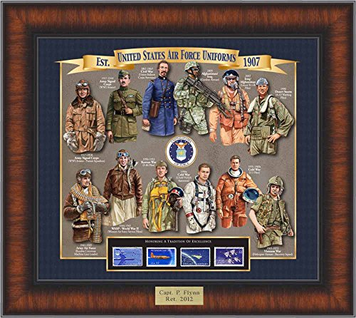 Air Force Uniform History - Unique Framed Collectible (A Great Gift Idea) with Personalized Engraved Plate with Personalized Engraved (Collectible Gift Plate)