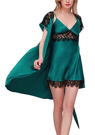 Dolamen Womens Nighties Satin Dressing Gown Kimono Robe, 2-in-1 Nightwear Nightdress