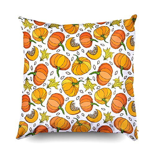 Shorping Zippered Pillow Covers Pillowcases 18X18 Inch Halloween Pumpkin Half of Whole Orange Pumpkins Flower Seeds Decorative Throw Pillow Cover,Pillow Cases Cushion Cover for Home Sofa -
