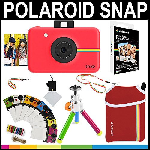 Polaroid Snap Instant Camera (Red) + 2x3 Zink Paper (20 Pack) + Neoprene Pouch + Photo Frames + Accessory Bundle by Polaroid