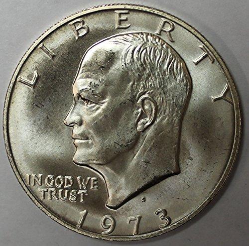- 1973 S Silver Eisenhower Ike Dollar $1 Brilliant Uncirculated