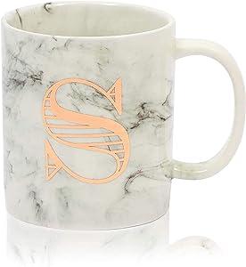 White Marble Ceramic Coffee Mug, Letter S Monogrammed Gift (11 oz)