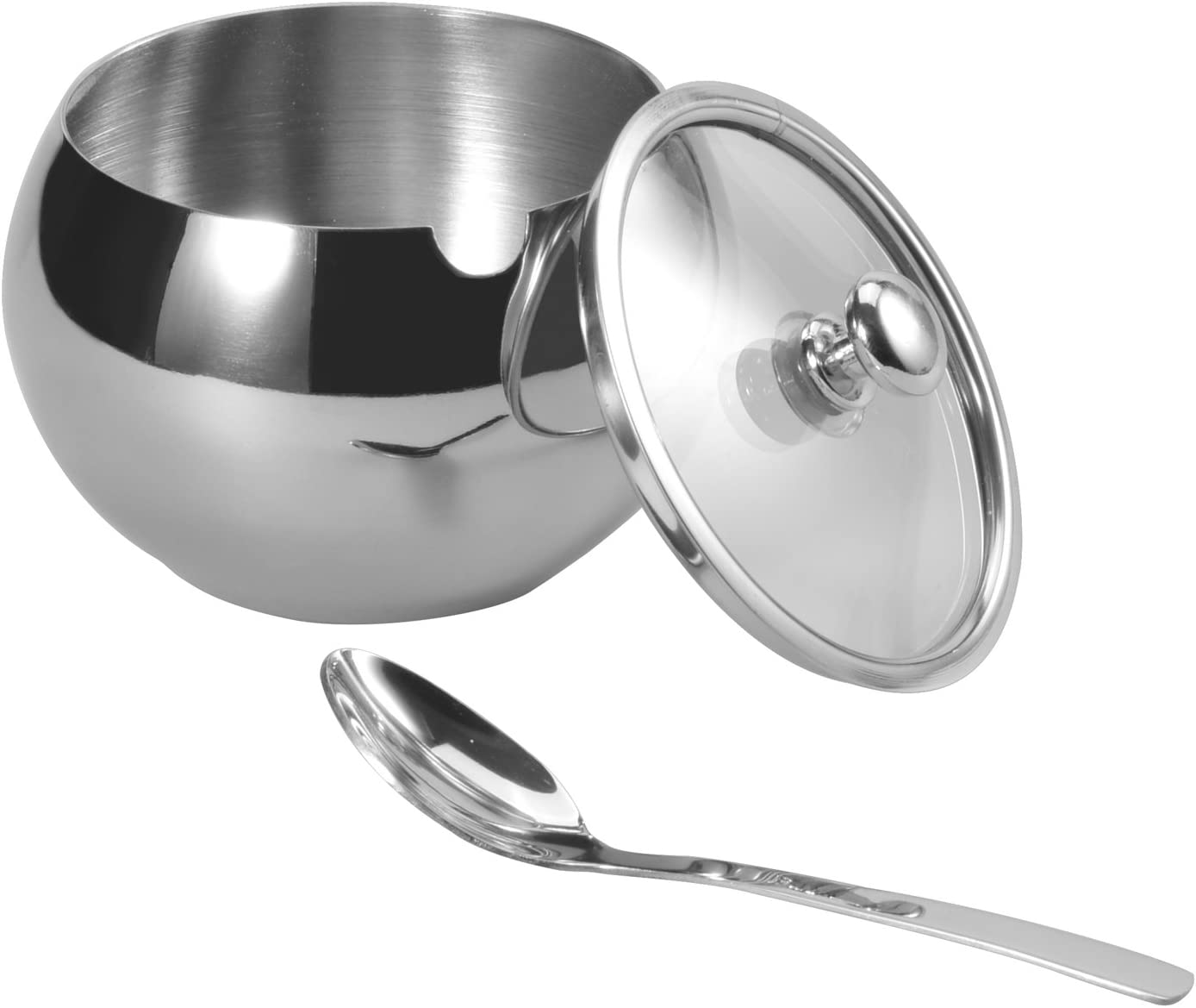HardNok Stainless Steel Sugar Bowl with Glass Lid and Spoon,350 Milliliter
