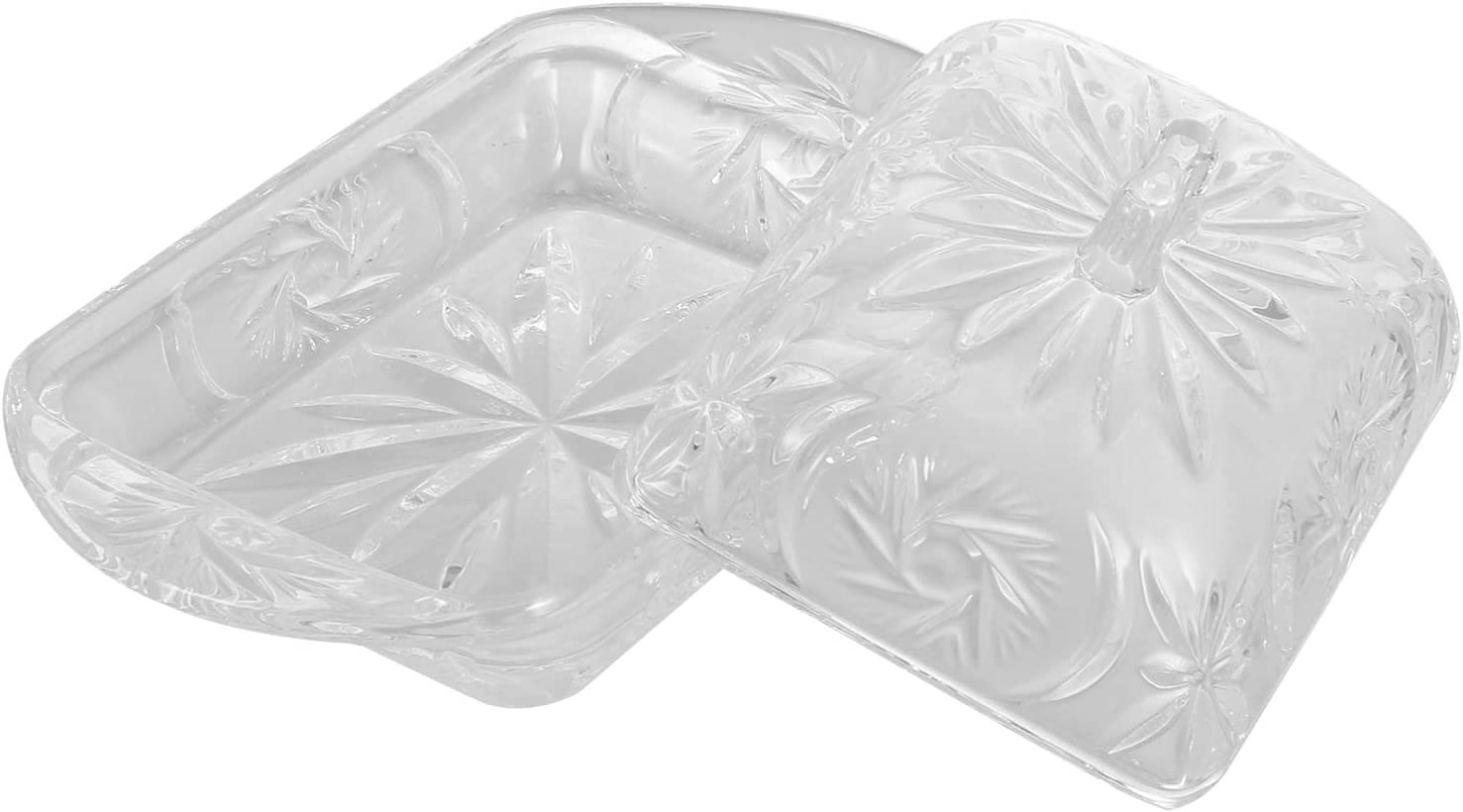 Cabilock Glass Butter Dish with Lid Crystal Covered Rectangular Butter Dish Butter Keeper Box Bread Dessert Holder Plate Food Container