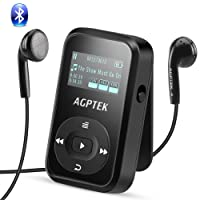 AGPTEK Clip MP3 Player with Bluetooth 4.0(Upgrade Version A26T), Lossless Sound Clip Sport Music Player 8GB with FM Radio,Support up to 64GB,Sweat-proof Silicone Case & Armband for Sport,Black