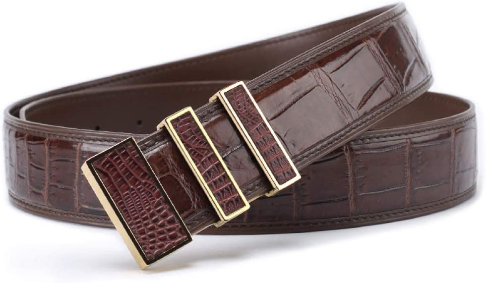 DENGDAI Mens Belt Casual Without Stitching Smooth Buckle Belt