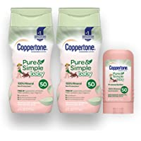 Coppertone Pure & Simple Baby SPF 50 Mineral Based Sunscreen Lotion + Stick Sunscreen Multi-pack (6-Fluid Ounce Bottle…