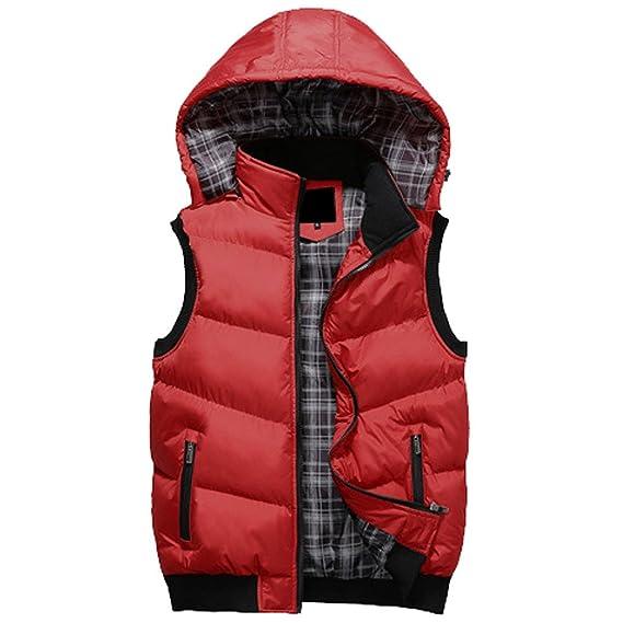 Chaleco Aivtalk, para hombre, estilo clásico, con capucha, tallaje asiático, Otoño/Invierno, chaqueta guateada, Hombre, color rosso, tamaño Medium: ...