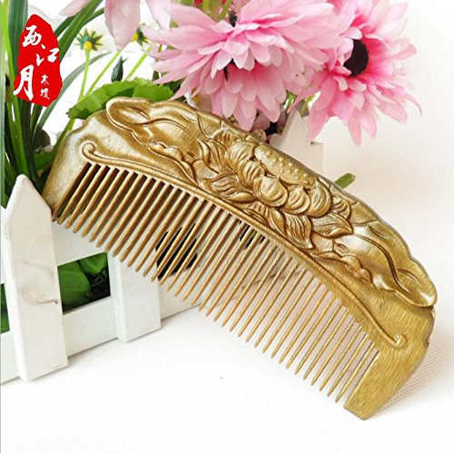 Handmade Carved Natural Sandalwood Hair Comb - Anti-static Sandalwood Hair Comb Beard Brush Rake Comb Handmade Engraving Lotus