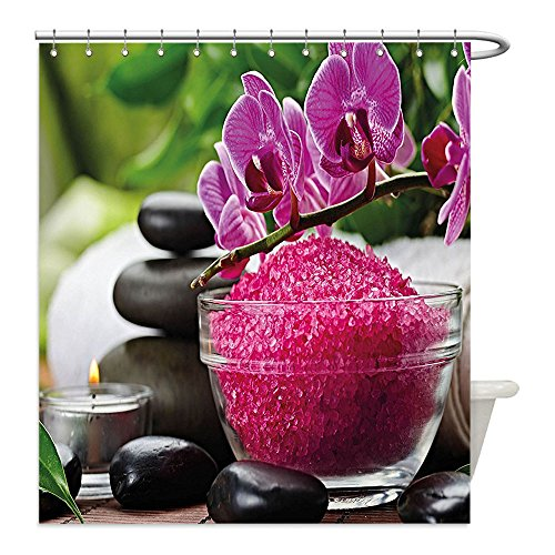 Liguo88 Custom Waterproof Bathroom Shower Curtain Polyester Spa Decor Black Zen Stone Triplets with Asian type Orchids and Fuchsia Salt Fuchsia Black and Green Decorative (Easy Triplet Costume Ideas)